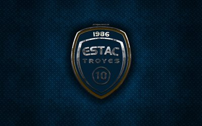 Troyes AC, French football club, blue metal texture, metal logo, emblem, Troyes, France, Ligue 2, creative art, football