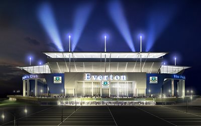 Goodison Park, night, Everton stadium, english stadiums, Everton FC, football stadium, Liverpool, England, United Kingdom