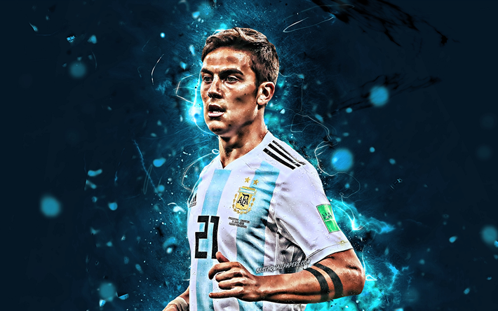 Paulo Dybala, close-up, Argentina National Team, football stars, Dybala, soccer, footballers, neon lights, Argentinean football team
