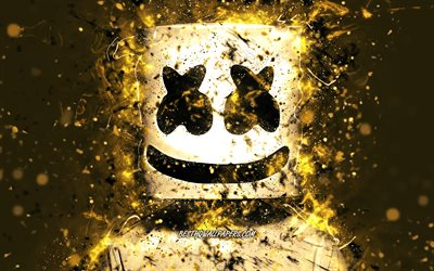 4k, Marshmello, golden neon, american DJ, Christopher Comstock, artwork, superstars, fan art, DJ Marshmello, DJs