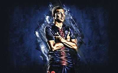 Kylian Mbappe, Paris Saint-Germain, striker, joy, blue stone, PSG, famous footballers, football, french footballers, grunge, Ligue 1, France, Mbappe