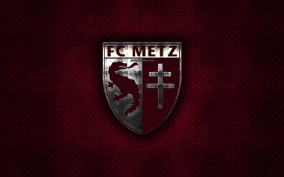 FC Metz, French football club, burgundy metal texture, metal logo, emblem, Metz, France, Ligue 2, creative art, football