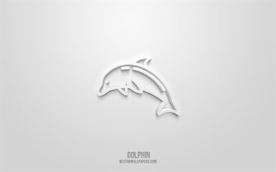 Dolphin 3d icon, white background, 3d symbols, Dolphin, Marine animals icons, 3d icons, Dolphin sign, Marine animals 3d icons