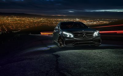 Mercedes-Benz E63 AMG S, 2017 cars, night, supercars, headlights, Mercedes