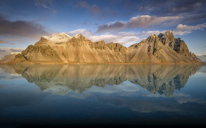 Vestrahorn, 5k, mountains, reflection, lake, Iceland
