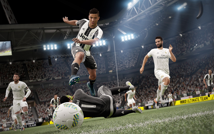 Download Wallpapers Fifa 18 4k Juventus Real Madrid