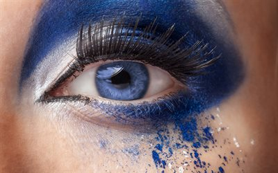 female eye, make-up concepts, blue eyes, blue make-up, beautiful woman