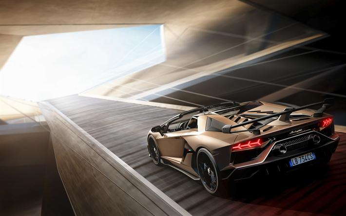 Download Wallpapers Lamborghini Aventador Svj 2019 Golden Supercar