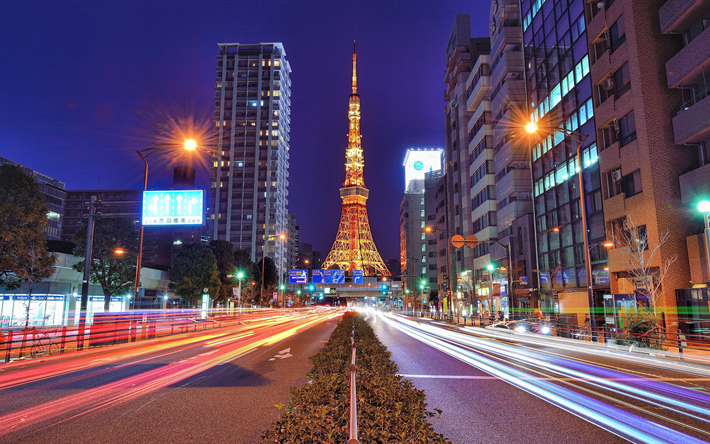 4k, Tokyo Tower, traffic lights, nightscapes, TV tower, Nippon Television City, cityscapes, Tokyo, Japan, Asia