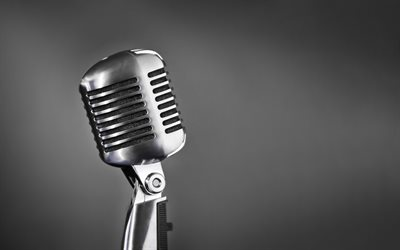 old retro microphone, metal microphone, singing concepts, microphone on gray background