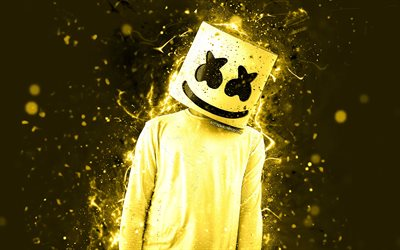 4k, Christopher Comstock, DJ Marshmello, yellow neon, artwork, creative, american DJ, Marshmello 4k, Marshmello DJ, superstars, Marshmello, DJs