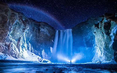 Skogafoss, 4k, winter, Icelandic landmarks, night, starry sky, Iceland, beautiful nature, waterfalls