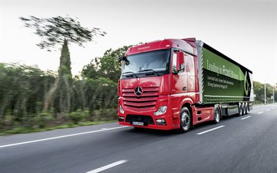 Mercedes-Benz Actros, 2019, New red Actros, trucking concepts, cargo delivery, German trucks, Mercedes