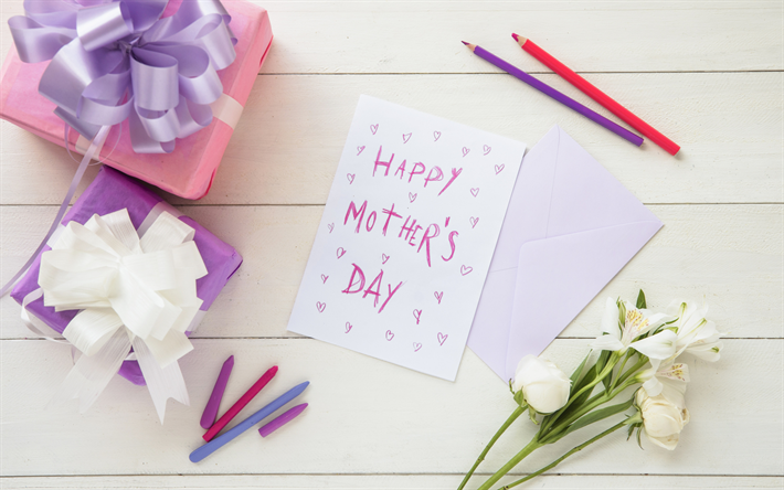 Happy mothers day, gifts, congratulations, postcard, Mothers Day, spring flowers