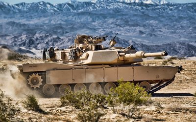 M1A1 Abrams, American main battle tank, desert, sand camouflage, tank, modern armored vehicles, US Army, USA