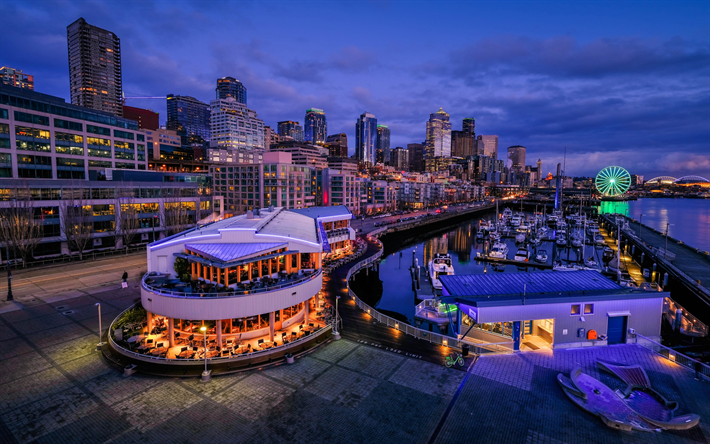 Seattle, evening, cityscape, skyscrapers, american city, bay, yachts, Washington, USA