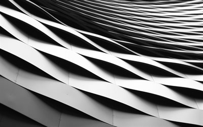 white 3D waves, modern facade, waves, 3D art, waves facade