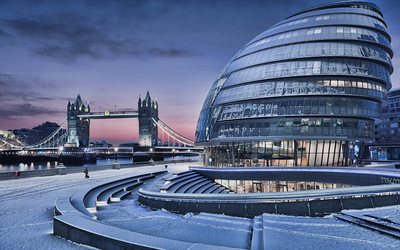 City Hall, Tower Bridge, 4k, winter, modern buildings, London, UK, HDR, United Kingdom, England