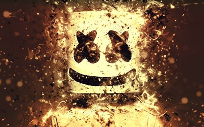 4k, Marshmello, brown neon, american DJ, Christopher Comstock, Marshmello DJ, fan art, superstars, creative, DJ Marshmello, DJs, Marshmello 4K