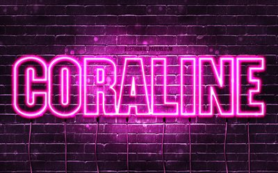 Download Wallpapers Coraline 4k Wallpapers With Names Female Names Coraline Name Purple Neon Lights Horizontal Text Picture With Coraline Name For Desktop Free Pictures For Desktop Free