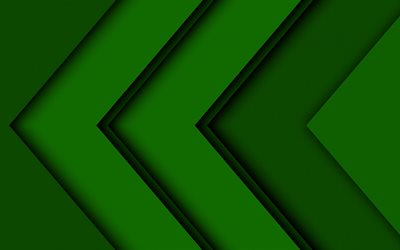 green arrows, artwork, creative, abstract arrows, green material design, geometric shapes, arrows, geometry, green backgrounds, dark arrows