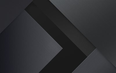 4k, arrows, android, gray nad black, lollipop, lines, geometric shapes, material design, creative, geometry, dark background