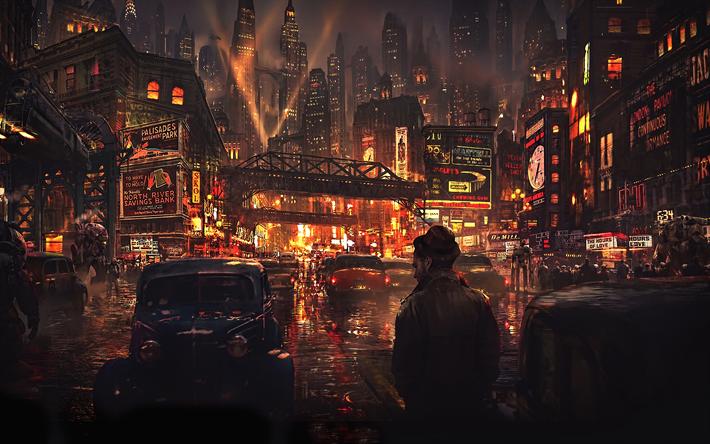 Download Wallpapers Cyberpunk 4k Cityscape Street Night