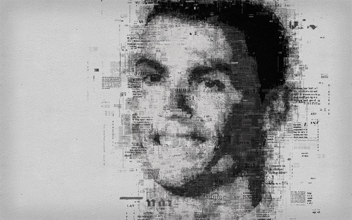 Cristiano Ronaldo, CR7, 4k, portrait, face, newspaper art, creative portrait, Portuguese footballer, Real Madrid, Spain