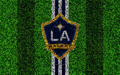 Los Angeles Galaxy, 4k, MLS, football lawn, logo, american soccer club, white blue lines, grass texture, Los Angeles, California, USA, Major League Soccer, football, LA Galaxy