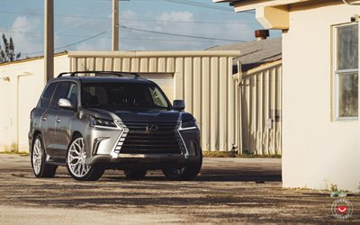 Lexus LX570, parking, 2018 cars, tuning, Vossen Wheels, SUVs, tunned LX570, luxury cars, Lexus, S17-01