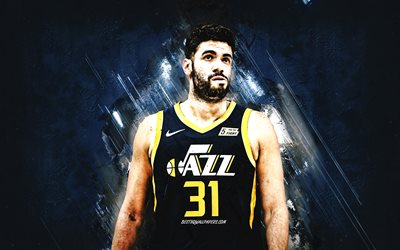 Georges Niang, Utah Jazz, NBA, American basketball player, blue stone background, USA, basketball