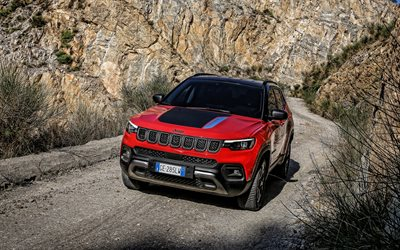 2022, Jeep Compass Trailhawk 4xe, 4k, front view, exterior, new red Compass Trailhawk, SUV, American cars, Jeep