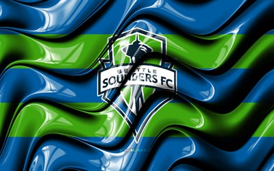 Seattle Sounders flag, 4k, blue and green 3D waves, MLS, american soccer team, football, Seattle Sounders logo, soccer, Seattle Sounders FC
