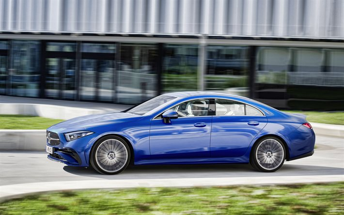 2022, Mercedes-Benz CLS, 4k, exterior, front view, new blue CLS, luxury sedan, german cars, Mercedes