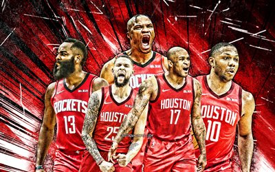 4k, James Harden, Russell Westbrook, Austin Rivers, PJ Tucker, Eric Gordon, grunge art, Houston Rockets, basketball, NBA, Houston Rockets team, red abstract rays, basketball stars