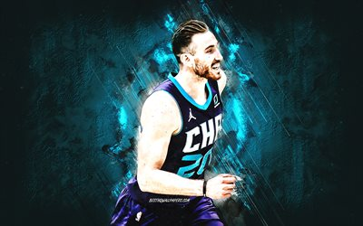 Gordon Hayward, Charlotte Hornets, NBA, American basketball player, blue stone background, basketball, USA