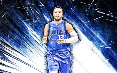 4k, Jalen Brunson, grunge art, Dallas Mavericks, NBA, basketball, Jalen Marquis Brunson, USA, Jalen Brunson Dallas Mavericks, blue abstract rays, Jalen Brunson 4K