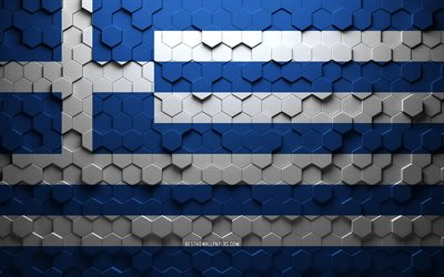 Flag of Greece, honeycomb art, Greece hexagons flag, Greece, 3d hexagons art, Greece flag