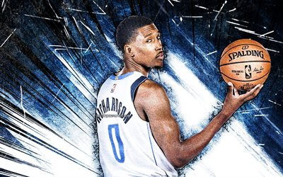 4k, Josh Richardson, grunge art, Dallas Mavericks, NBA, basketball, Joshua Michael Richardson, USA, Josh Richardson Dallas Mavericks, blue abstract rays, Josh Richardson 4K