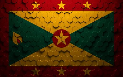 Flag of Grenada, honeycomb art, Grenada hexagons flag, Grenada, 3d hexagons art, Grenada flag