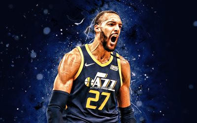 Rudy Gobert, 4k, Utah Jazz, NBA, basketball, Rudy Gobert-Bourgarel, Rudy Gobert Utah Jazz, blue neon lights, Rudy Gobert 4K