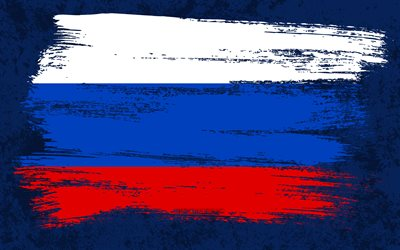 4k, Flag of Russia, grunge flags, European countries, national symbols, brush stroke, Russian flag, grunge art, Russia flag, Europe, Russia