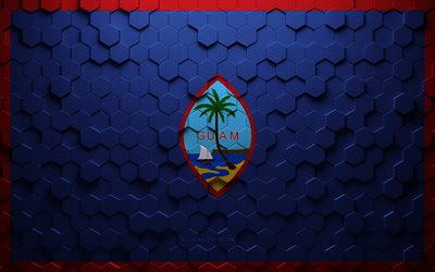 Flag of Guam, honeycomb art, Guam hexagons flag, Guam, 3d hexagons art, Guam flag