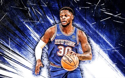 4k, Julius Randle, grunge art, New York Knicks, NBA, basketball, Julius Deion Randle, USA, Julius Randle New York Knicks, blue abstract rays, Julius Randle 4K, NY Knicks