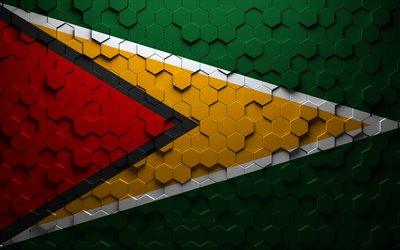 Flag of Guyana, honeycomb art, Guyana hexagons flag, Guyana, 3d hexagons art, Guyana flag