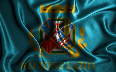 Lazio flag, 4k, silk wavy flags, Italian regions, Flag of Lazio, fabric flags, 3D art, Lazio, Regions of Italy, Lazio 3D flag