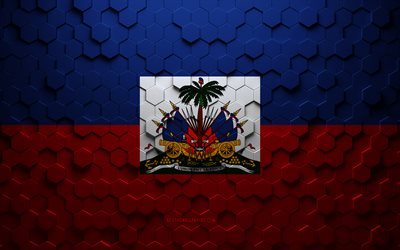 Flag of Haiti, honeycomb art, Haiti hexagons flag, Haiti, 3d hexagons art, Haiti flag