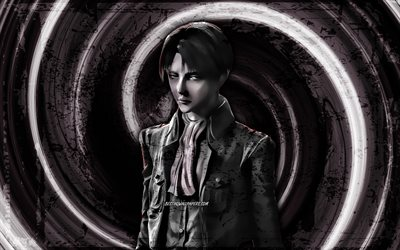 4k, Levi Ackerman, black grunge background, Attack on Titan, manga, Captain Levi, protagonist, vortex, Rivai Akkaman, Levi Ackerman 4K