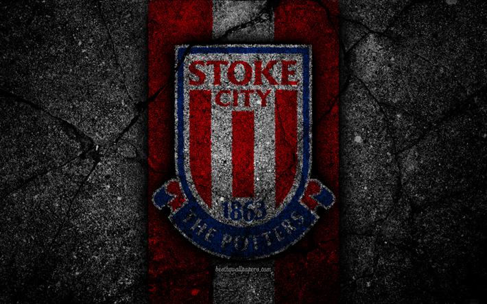 Download Wallpapers Stoke City FC, 4k, Logo, Premier