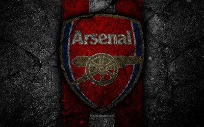 O Arsenal FC, 4k, logo, Premier League, grunge, Inglaterra, a textura do asfalto, O Arsenal, pedra preta, futebol, FC Arsenal